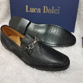 Luca Dolci Italian Leather Loafer-black