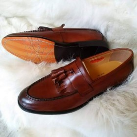 Exotic Italian Leather Mustash Loafer Shoe-brown