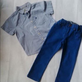 Blue Check Shirt And Trousers For Boys