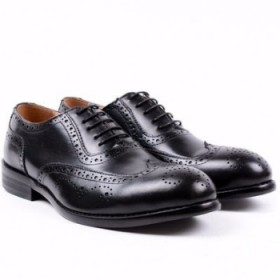 Mens Classy Executive Smart Up Italian Leather Oxford Brogues-black