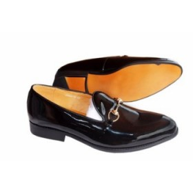 Mens Classy Executive Patent Italian Loafer-black