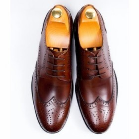 Mens Classy Smart Up Italian Leather Oxford Brogues Shoe-brown