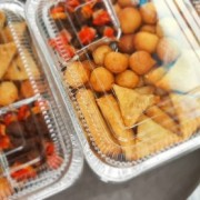 Tray of small chops and stick beef.