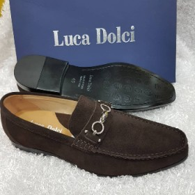Luca Dolci Italian Leather Suede Loafer -brown