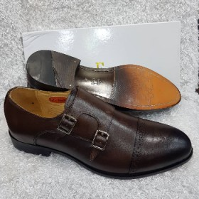 OBED'S WARDBROBE   Premium John Foster Monk Strap Oxford Shoe Brown
