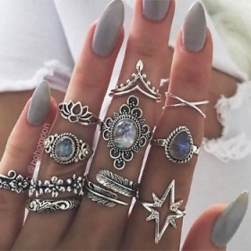 11pcs Vintage Encrusted Gemstone Rings