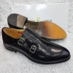 Premium John Foster Monk Strap Oxford Shoe Black