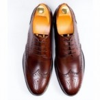 OBED'S WARDBROBE  Mens Classy Smart Up Italian Leather Oxford Brogues Shoe-brown