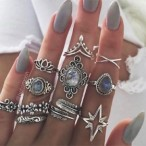 Karry's Sellable  11pcs Vintage Encrusted Gemstone Rings